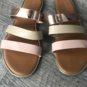BAMBOO Three Strap Rose Gold Slide Sandals Sz 9